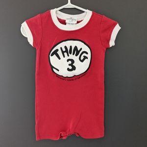 "Dr. Seuss ""Thing 3"" red onesie romper"